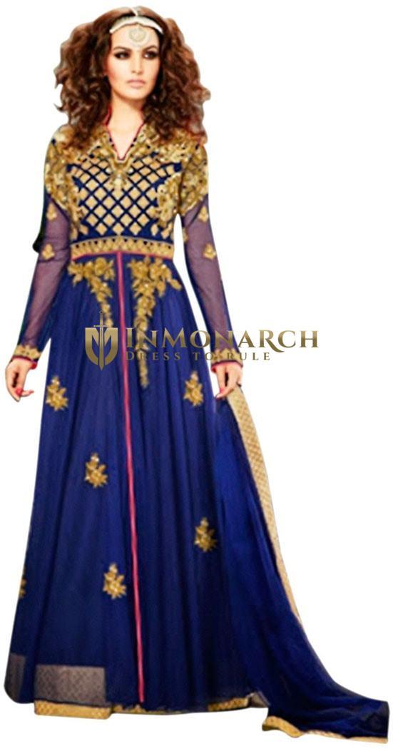 Gorgeous Royal Blue Designer Anarkali Gowns