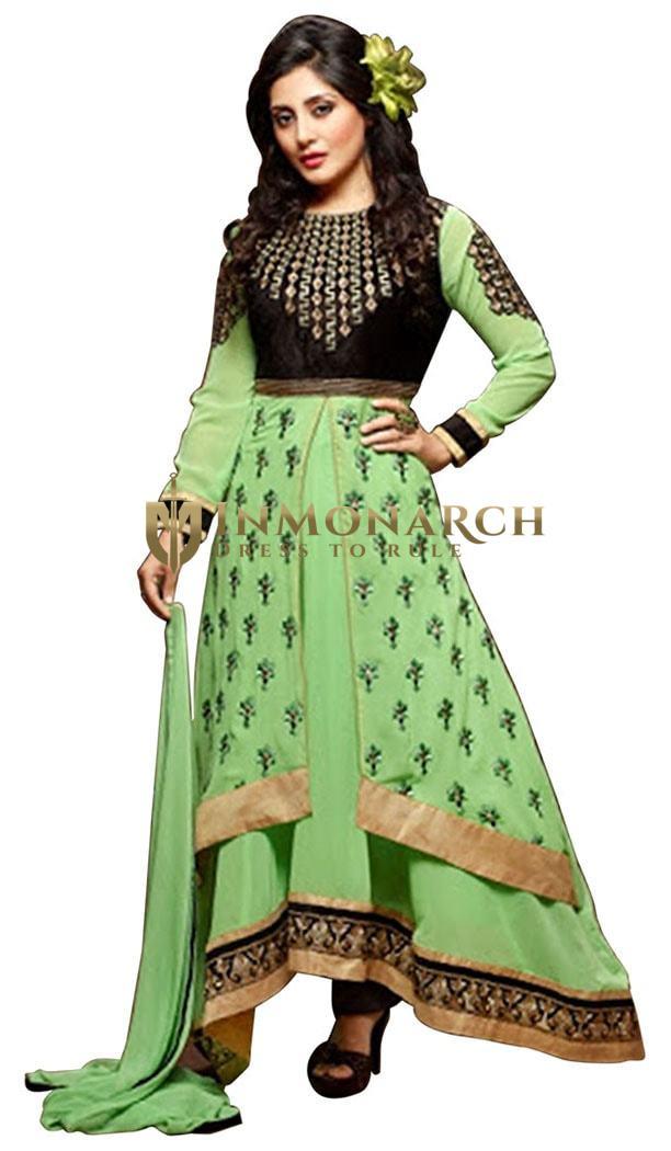 Fabulous Georgette Green Anarkali Suit