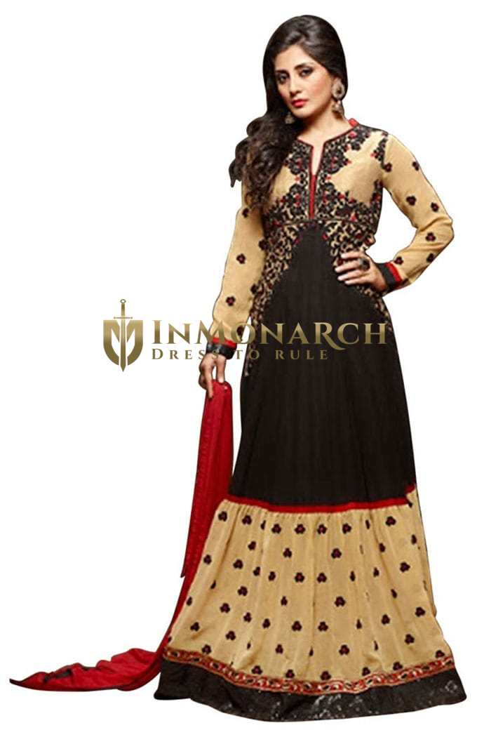 Designer Black & Cream Embroidered Suit