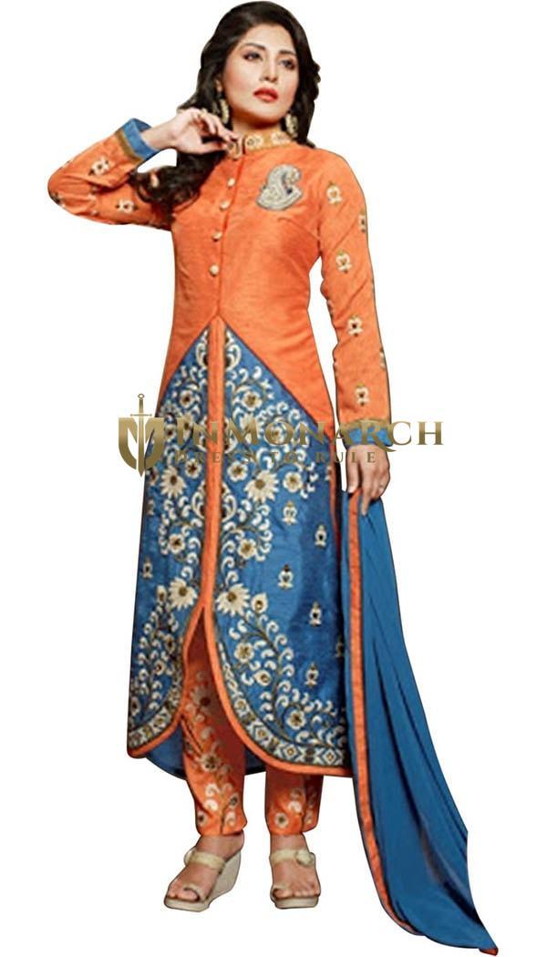 Orange and Steel Blue Silk Designer Suits