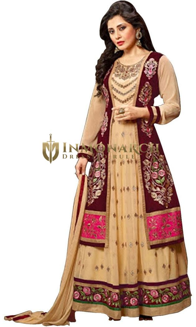 Beige & Purple Georgette Anarkali Suit