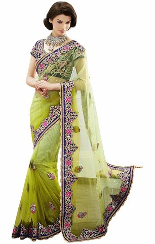 Awesome Light Green Net Saree