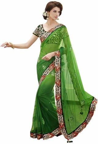 Fascinating Green Net Saree