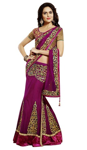 Very Attractive Net And Satin Lehenga Saree