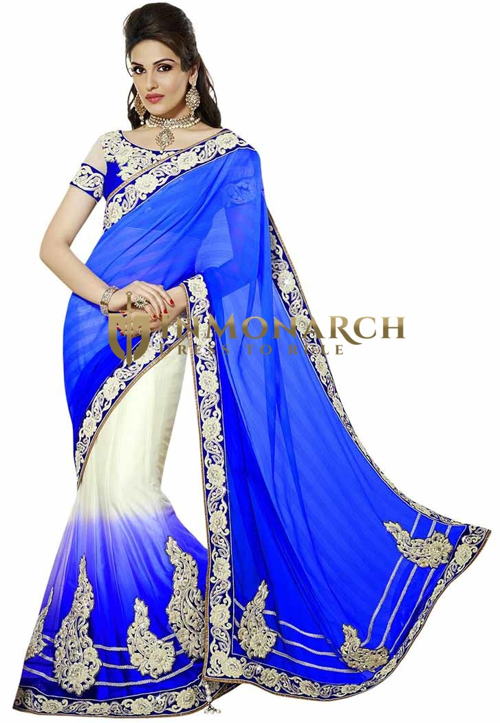 Royal Blue And Off White Lehenga Saree