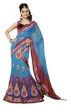 Fashionable Aqua Blue And Red Net And Satin Lehenga Saree