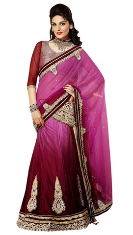 Awesome Pink And Burgundy Lehenga Saree