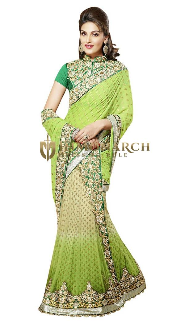 Fantastic Light Green And Beige Lehenga Saree