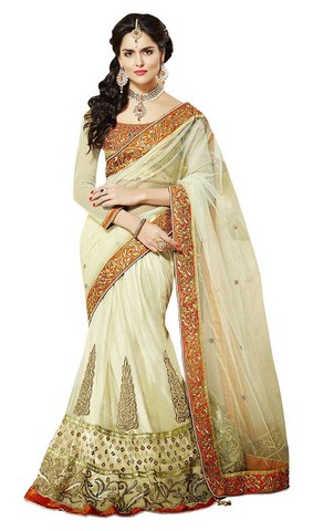 Beautiful Ivory Net And Satin Lehenga Saree