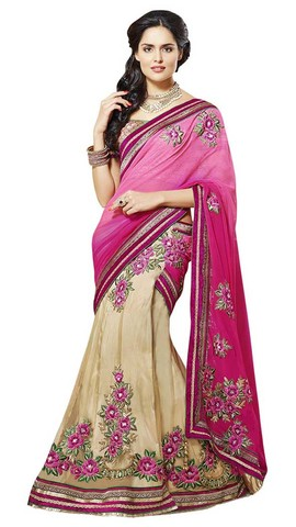 Awesome Pink And Beige Lehenga Sari