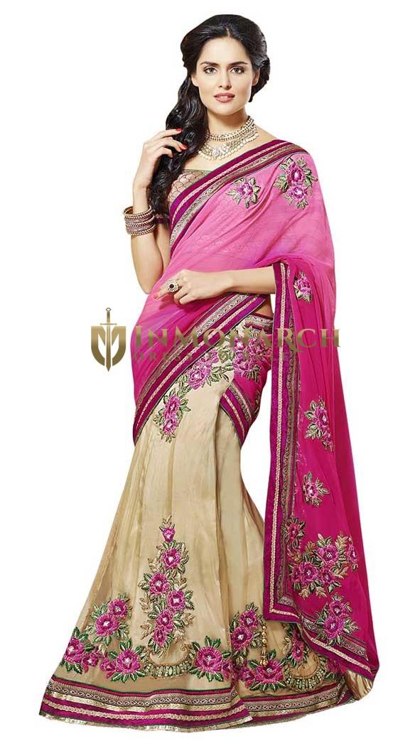 Awesome Pink And Beige Lehenga Sari