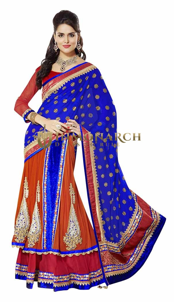 Marvelous Blue And Orange Red Lehenga Style Saree