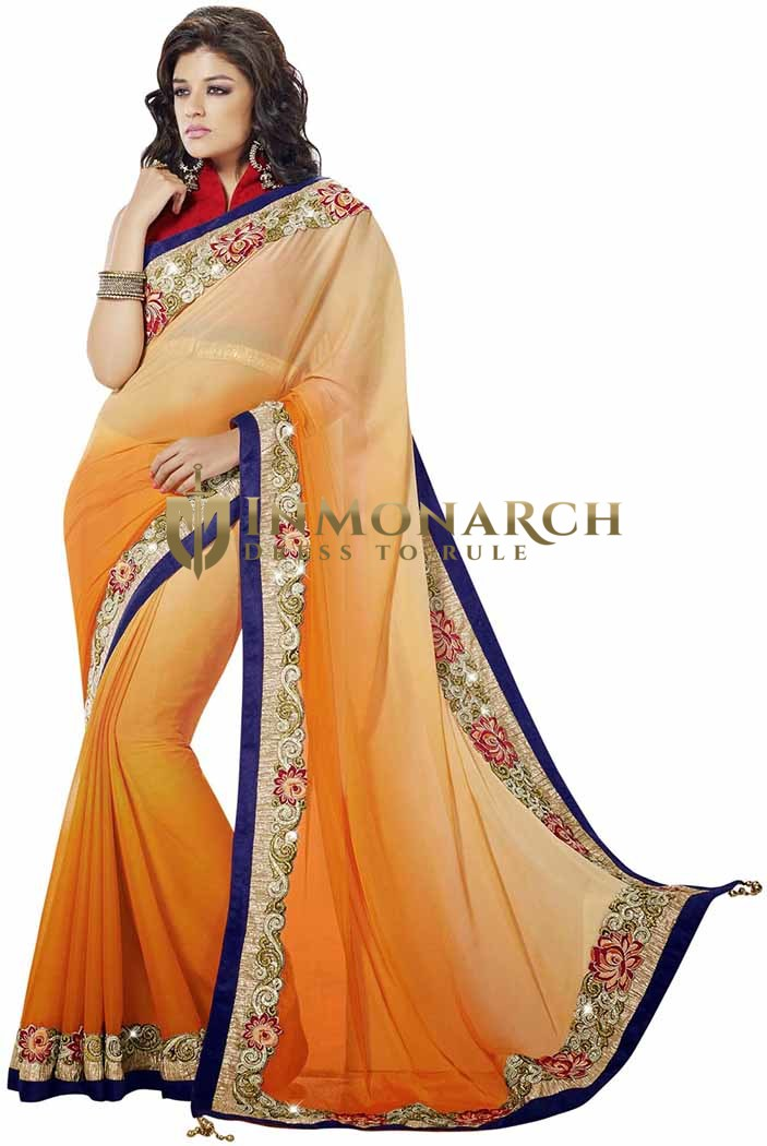 Awesome Shaded Orange Faux Chiffon Saree
