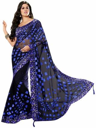 Stunning Black Net Saree