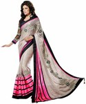 Light Gray And Pink Brasso Georgette Saree