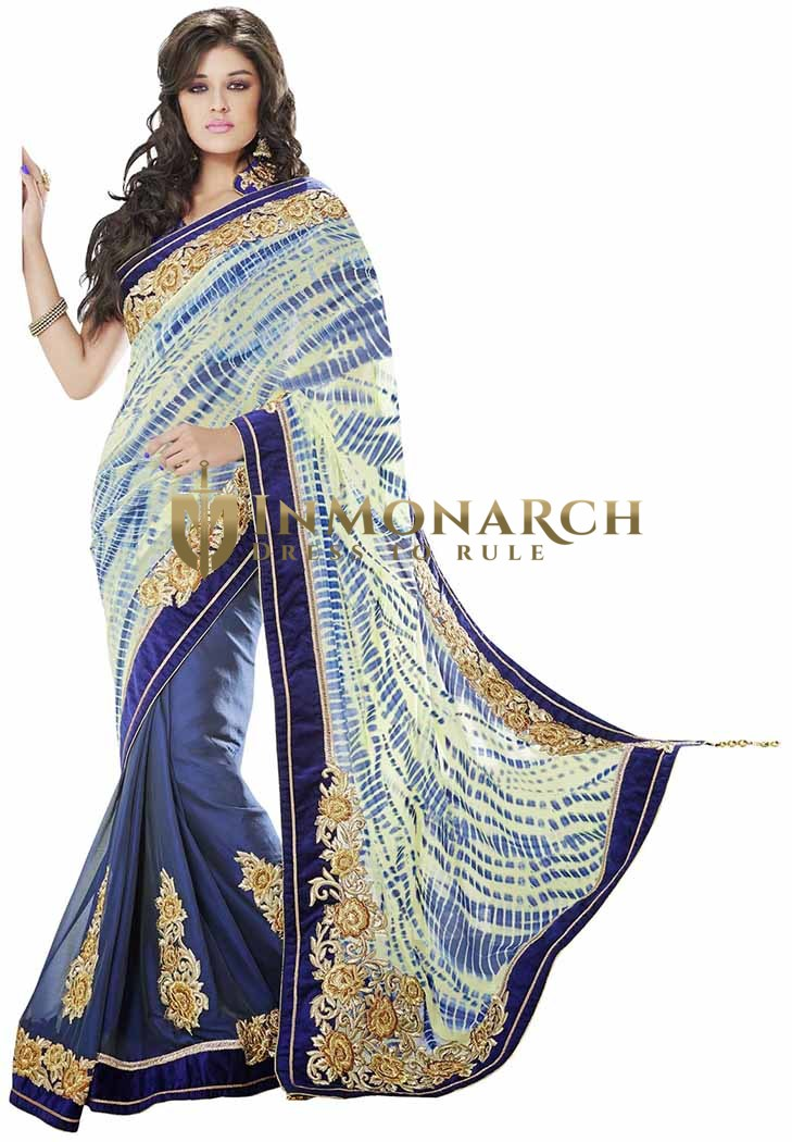 Wonderful Cream Blue Faux Georgette Chiffon Saree