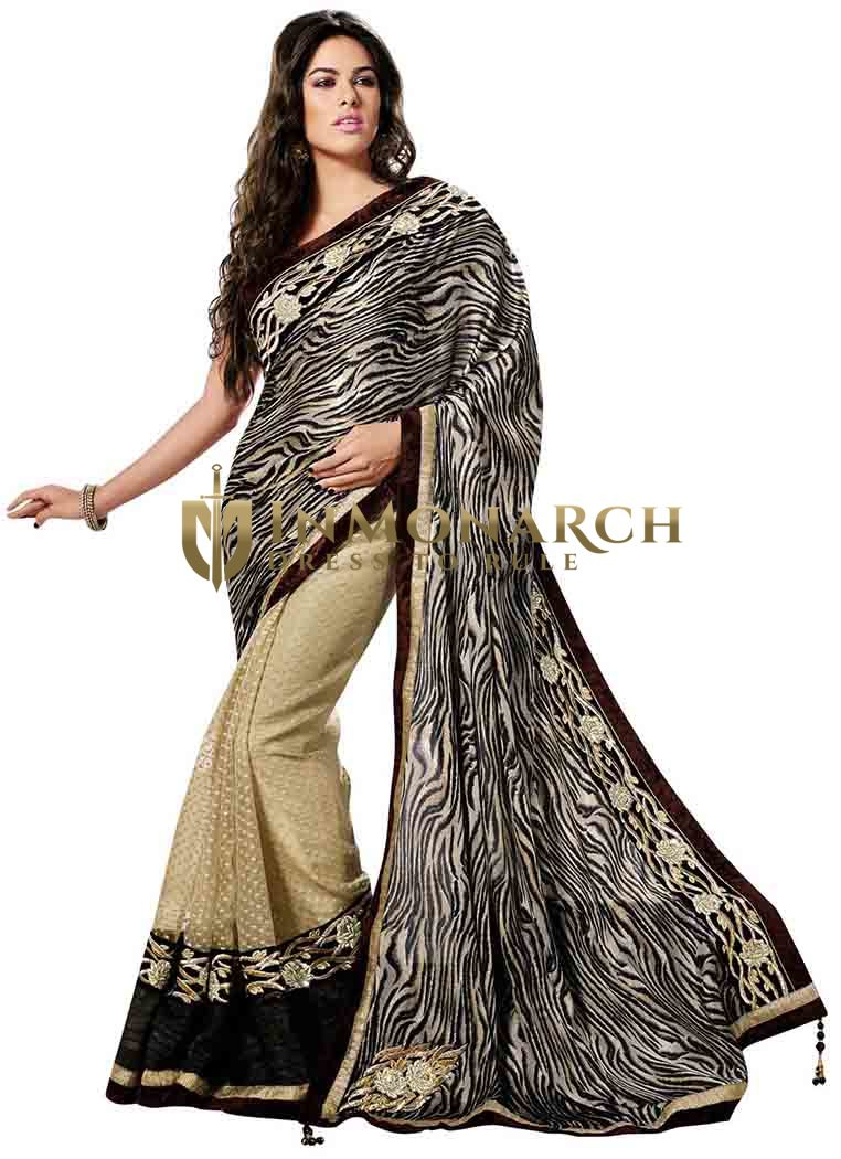 Marvelous Beige And Black Half N Half Saree
