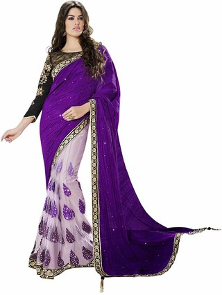 Attractive Purple And Off White Art Silk And Net Saree