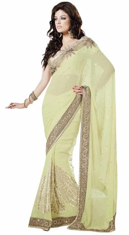Fashionable Light Yellow Faux Chiffon Saree
