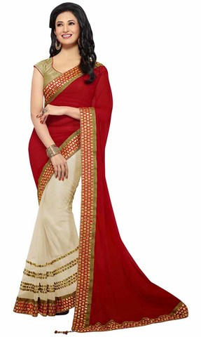 Traditional Red And Beige Faux Chiffon And Net Saree