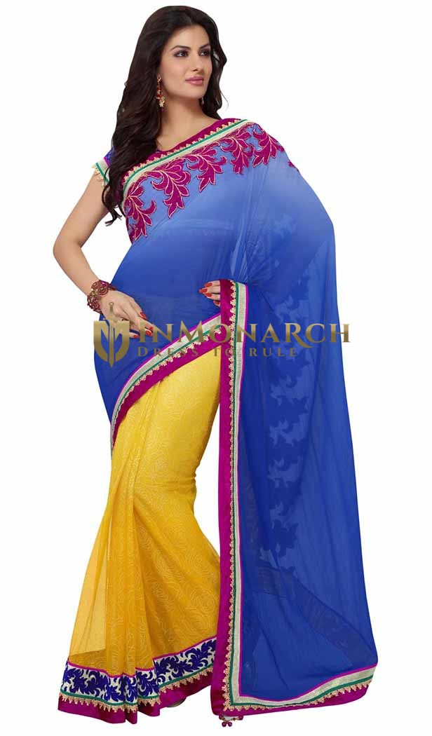 Shaded Blue And Orange Faux Chiffon And Net Saree
