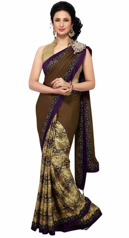Classic Dark Brown And Beige Half N Half Saree