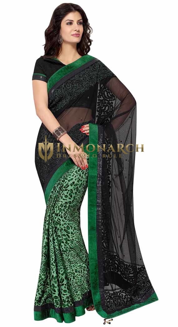 Attractive Black And Green Net And Satin Saree