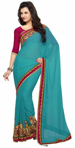 Awesome Teal Blue Faux Chiffon Saree