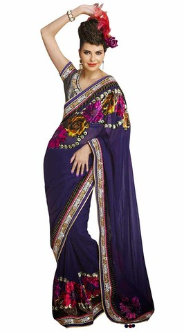 Unique Navy Blue Faux Georgette Saree