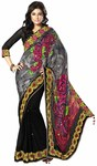 Wonderful Gray And Black Satin And Net Saree