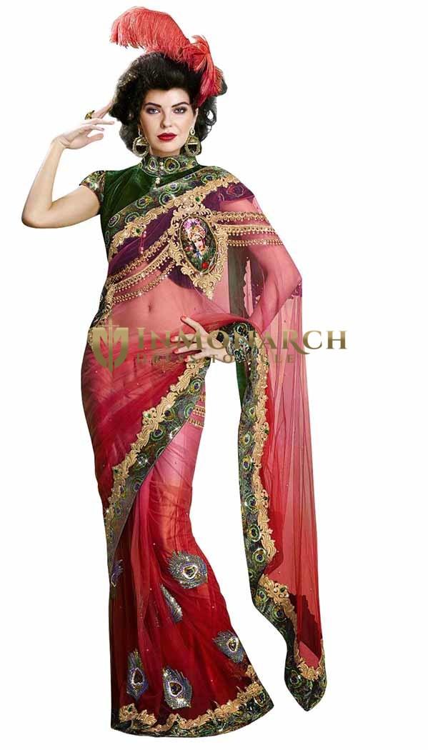 Amazing Shaded Red Net Saree