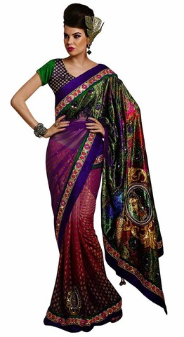 Impressive Purple And Pink Half N Half Saree