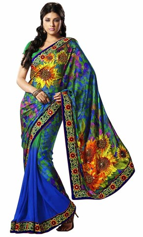 Unique Blue And Green Satin And Faux Chiffon Saree