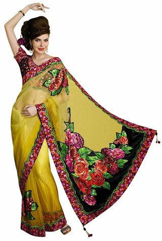 Shaded Yellow Net Saree