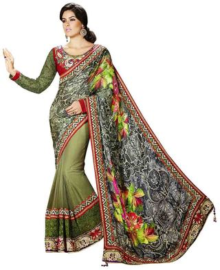 Glamorous Green And Off White Half N Half Saree