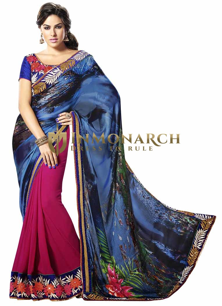 Beautiful Satin And Faux Chiffon Saree