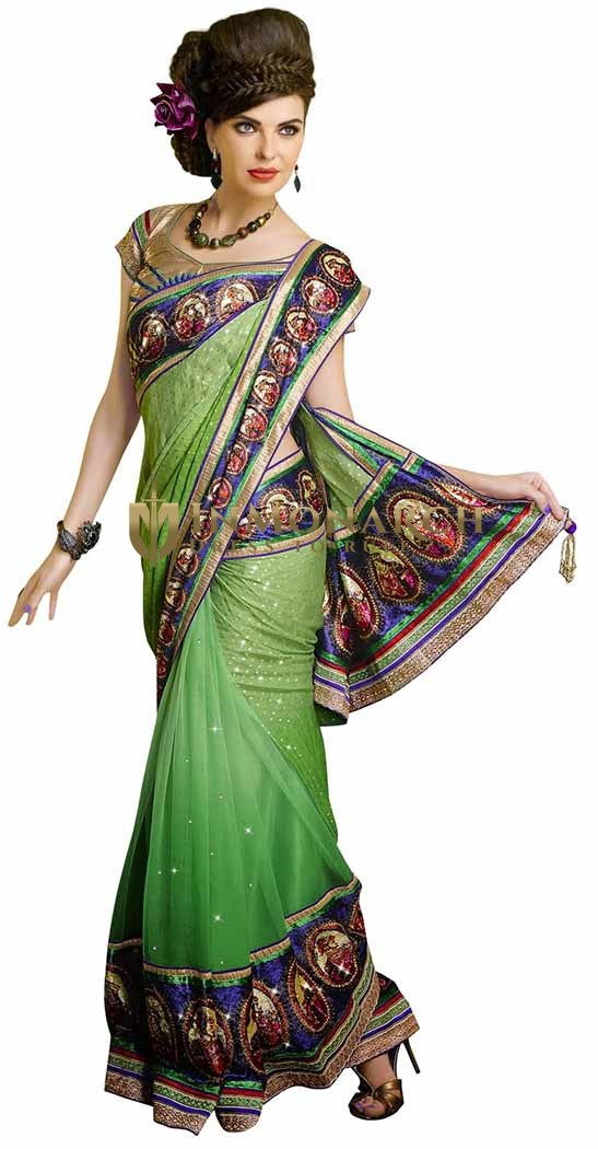 Shaded Green Faux Georgette Jacquard And Net Saree