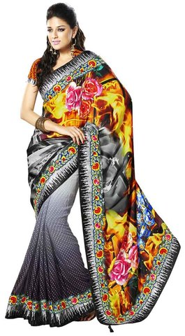 Special Gray And Black Satin And Faux Georgette Saree