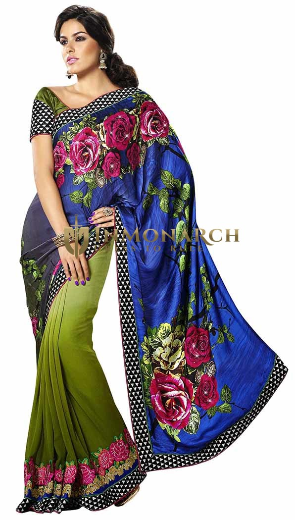 Shaded Blue And Green Satin And Faux Georgette Saree