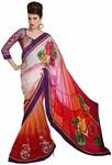 Red Satin And Net Saree