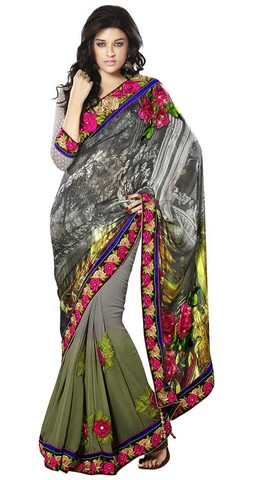 Shaded Grey And Green Satin And Georgette Saree