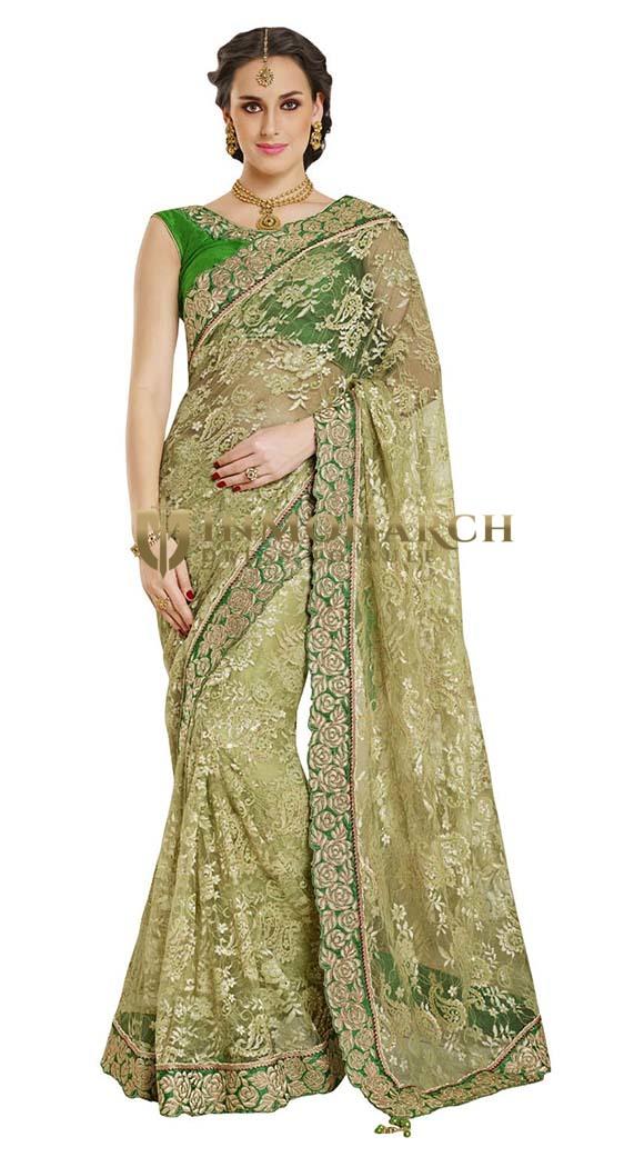 Most Wonderful Green Net Jacquard Saree