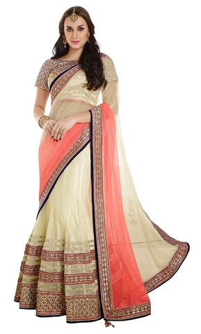 Amazing Peach And Cream Net And Satin Lehenga Style Saree
