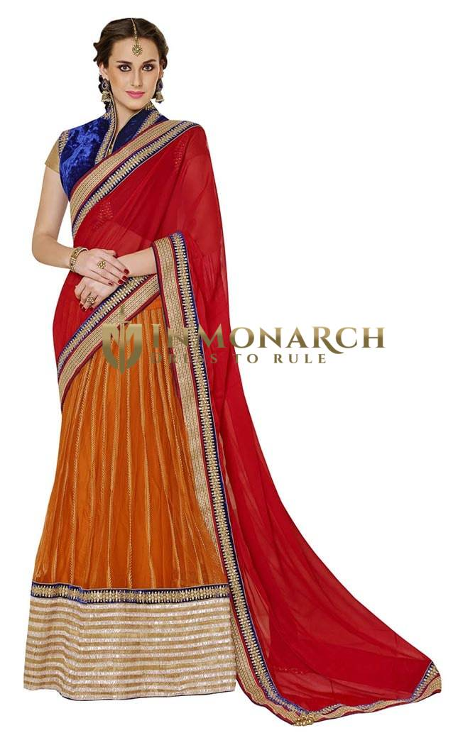Fashionable Red And Orange Faux Chiffon And Net Lehenga Saree
