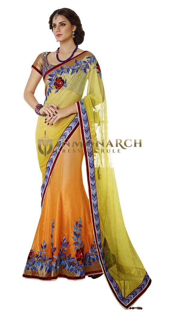 Shaded Orange And Yellow Net And Satin Lehenga Saree