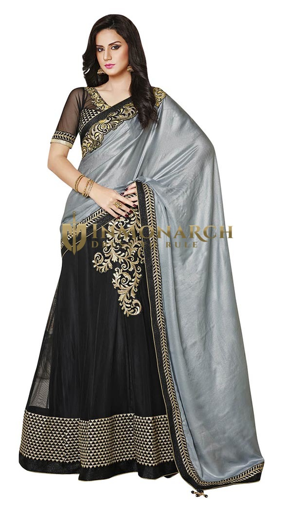Wonderful Grey And Black Lehenga Style Saree