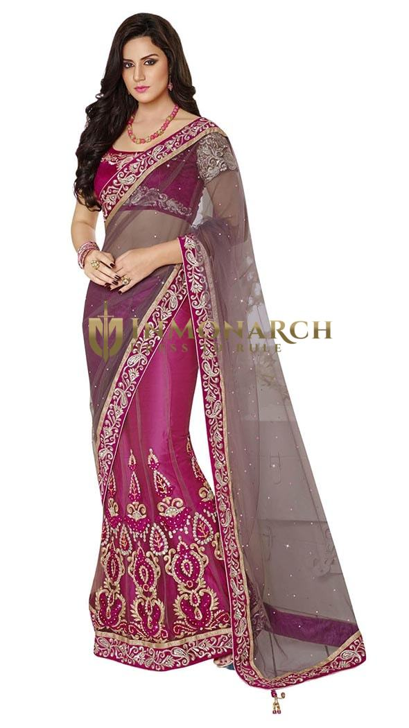 Marvelous Grey And Magenta Net And Satin Lehenga Saree