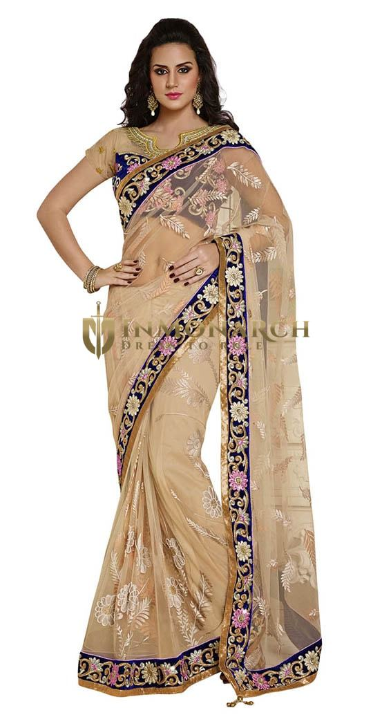 Ultimate Look Light Beige Net Saree