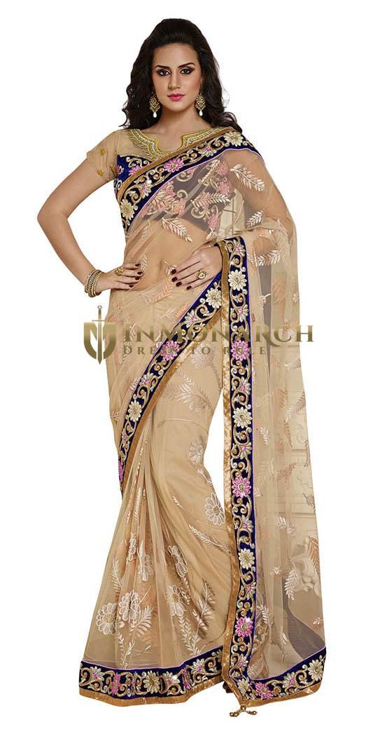 Ultimate Look Light Beige Net Saree