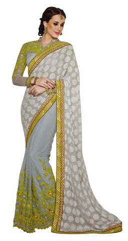 Light Grey Faux Chiffon Brasso Shimmer And Net Saree